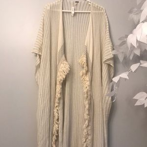 Free People Sweaters - Free people fringe ivory combo maillot duster new